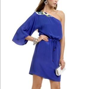 Trina Turk Blue Santa Cruz Silk One Shoulder Dress